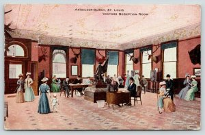 St Louis MO~Anheuser-Busch Brewery~Visitors Reception Room~Deer Mounts~1910 PC