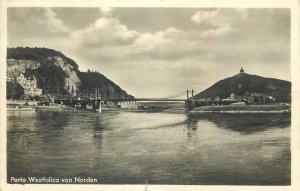 Postcard Germany porta westfalica von norden bridge river village engineering
