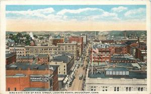 Bridgeport Connecticut~Main Street North Bird's Eye~Stores~Aimwell Co~1920s