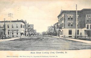 Cherokee Iowa~First National Bank~The Lewis Hotel Apts Beyond RR Tracks c1910