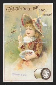 VICTORIAN TRADE CARD Clark's Mile-end Cotton Thread