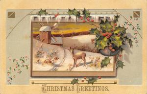 Christmas~Deer in Wintry Vignette~Dutch Windmill~Art Nouveau~Emboss~Germany~MAB