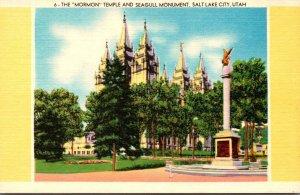 Utah Salt Lake City The Mormon Temple and Seagull Monument