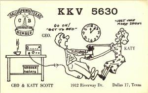 QSL Radio Card From Dallas Texas KKV 5630