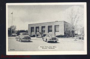 GUYMON OKLAHOMA ROUTE 66 U.S. POST OFFICE 1940's CARS VINTAGE POSTCARD
