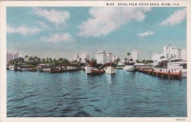Florida Miami Royal Palm Yacht Basin Curteich