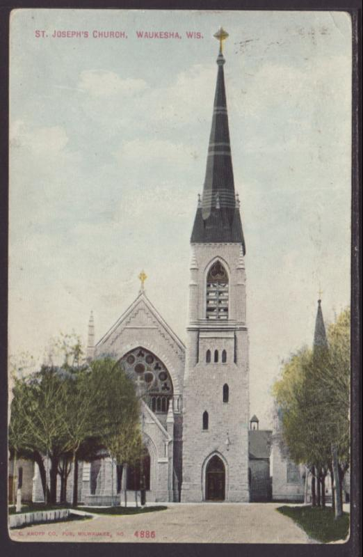 St Joseph's Church,Waukesha,WI Postcard