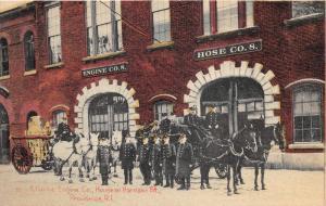 Providence Rhode Island~Atlantic Fire Engine Co~Horse Drawn Fire Trucks~c1910