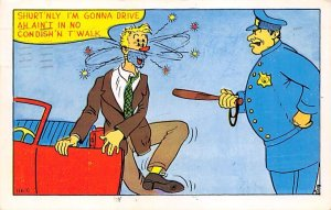 Man Striking Another Man With a Baton Comic Occupation, Policeman 1956