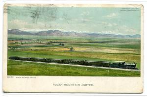 Rock Island Train Rocky Mountain Limited 1922 Phostint postcard