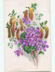 Very Old Foreign Postcard BEAUTIFUL FLOWERS SCENE AA4668
