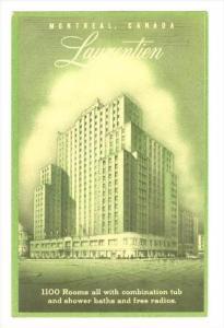 Laurentien Hotel, Montreal, Quebec, Canada, PU-1949