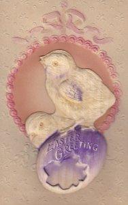Embossed, EASTER; Greeting, Chicks on purple egg shell, 00-10s