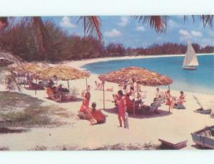 Unused Pre-1980 BEACH SCENE Paradise Beach In Nassau Bahamas d6914