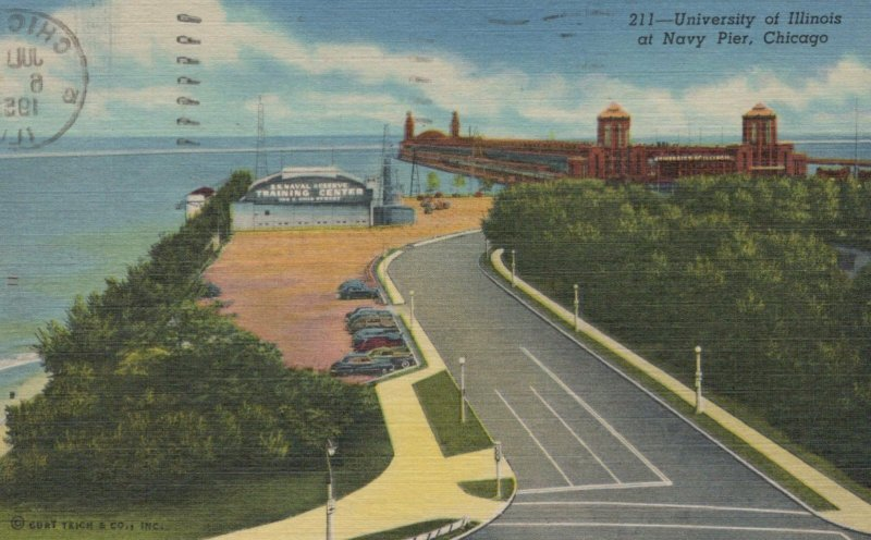 University Of Illinois At Navy Pier Chicago IL Posted Vintage Linen Post Card