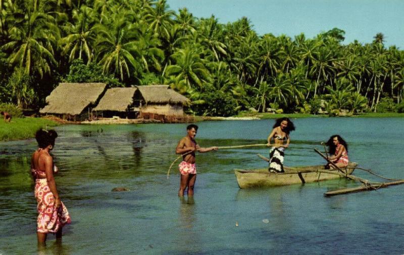 tahiti, Native Boy and Girls return from Fishing Trip, Canoe (1960s)