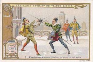 Liebig Trade Card S.623 Duelling No 4 L'escrime des Mignons L'Epee et la Dague