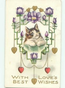 Pre-Linen KITTEN CAT WITH HEARTS AND FLOWERS AC4844
