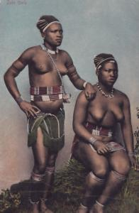 African Risque Zulu Girls Antique Africa Postcard