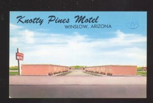 WINSLOW ARIZONA ROUTE 66 KNOTTY PINES MOTEL VINTAGE ADVERTISING POSTCARD