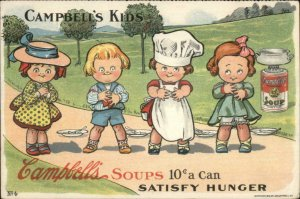 Campbell's Soup Kids & Can SATISFY HUNGER #4 c1910 Postcard G19