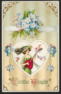 Valentine Thoughts Pretty Lady Playing Heart Shaped Guitar & Flowers Used c1912
