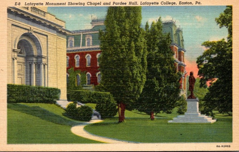Pennsylvania Easton Lafayette Monument Showing Chapel and Pardee Hall Lafayet...