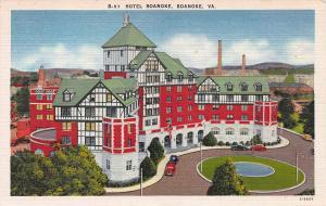 Hotel Roanoke, Roanoke, Virginia, Early Linen Postcard, Unused