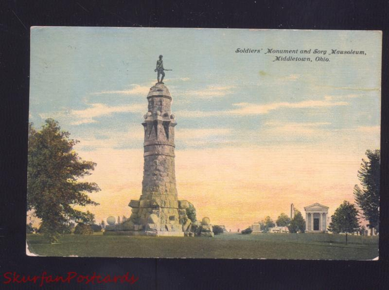 MIDDLETOWN OHIO SOLDIERS MONUMENT SORG MAUSOLEUM CEMETERY OLD POSTCARD
