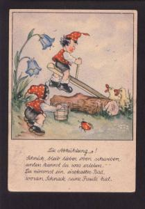 073664 Funny ELF Gnome on SWING w/ DUCKS vintage colorful PC