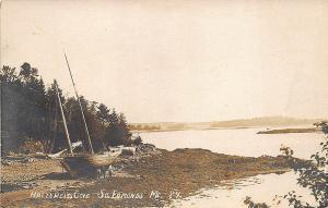 South Edmonds ME Hallowell's Cove Sailboat 1912 RPPC Postcard