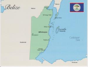 MAP AND FLAG OF BELIZE