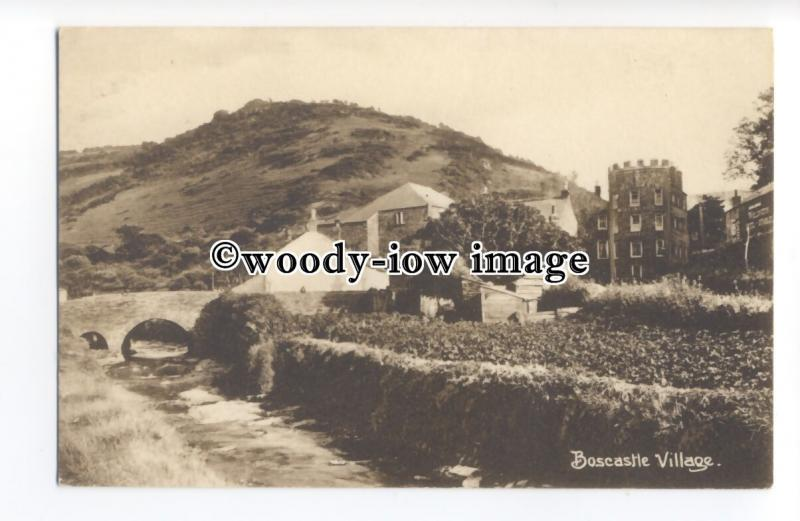 tq1393 - Early Boscastle Village, from Bridge over the River Valency - postcard