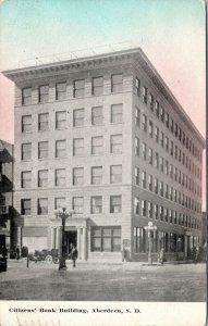 Aberdeen SD~Sundown Behind Citizens Bank Building~Columns~MAil Dropbox 1910 PC
