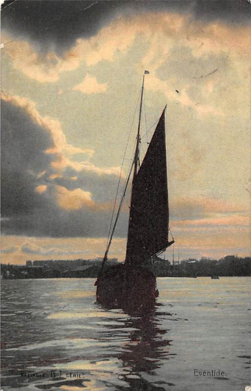 Eventide, Boat Silhouette at Sea, Sunset 1907