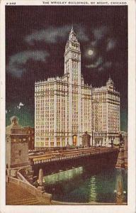 The Wrigley Buildings By Night Chicago Illinois 1945