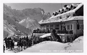 RPPC Kreuzeckhaus gegen Zugspitzo Germany Skiing Scene Vintage Postcard ca 1940s