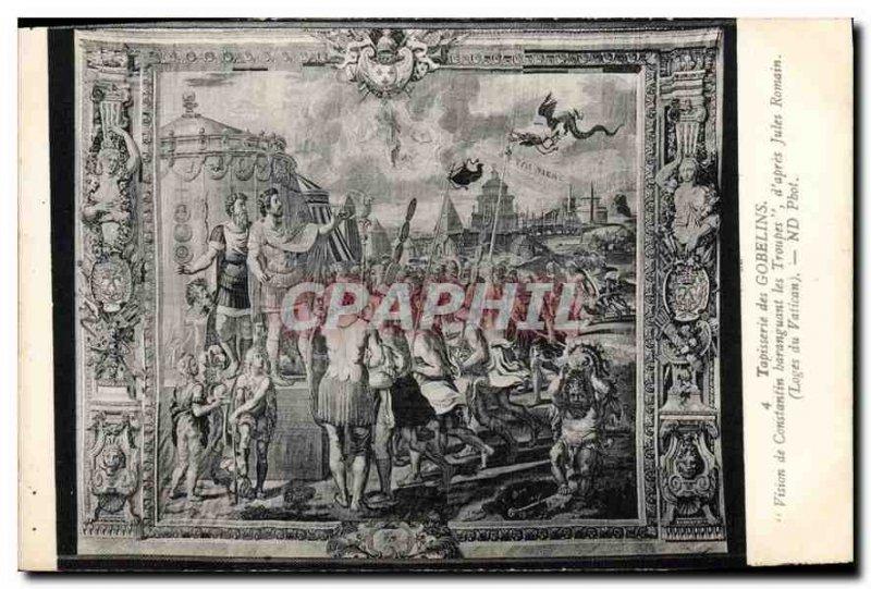 Postcard Old Gobelins Tapestry vision of Constantine baranguant the Troops af...