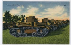 Tanks Ready For Maneuvers US Army Military WWII linen postcard