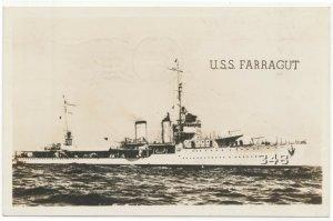 1942 RPPC U.S.S. Farragut Cecil Hamilton Great Lakes Real Photo Postcard 2nd