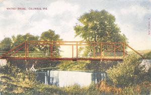Columbus Wisconsin~Whitney Bridge~Boy Fishing in the Weeds~1910 Postcard