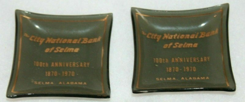 2 CITY NATIONAL BANK OF SELMA Alabama MINI GLASS ASHTRAYS 100th Anniversary 1970
