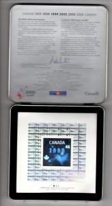 Celebrating the Year 2000 Canada Millennium Keepsake, Stamps, Coin in Metal Box