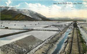 c1907 Postcard Harvesting Salt from Salt Beds, Great Salt Lake UT, RR Car Posted