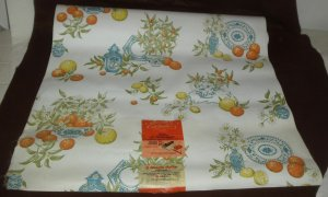 Vintage By the Yard Reed Wall Paper Kitchen Blue Delft Citrus Lemon Orange Daisy