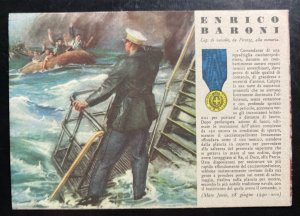 Mint Italy Patriotic Postcard WWII Gold Medal Of Military Valor Enrico Baroni