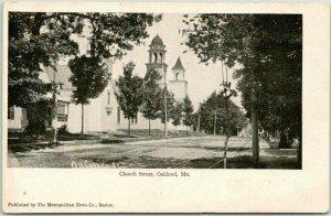 Vintage OAKLAND, Maine Postcard CHURCH STREET Scene / c1900s UNUSED