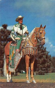 Art Miller on Peavines Golden Major Cowboy on Horse c1950s Vintage Postcard