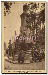 Old Postcard Metz Monument to soldiers died French under the walls of Metz