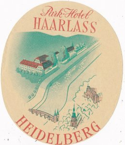 Germany Heidelberg Park Hotel Harlass Vintage Luggage Label sk2852